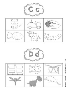 Initial/Beginning Letter Pictures for learning Sound-Letter Correspondence