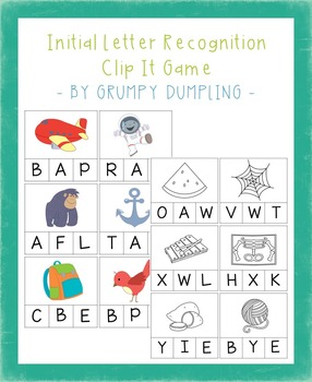Initial Letter Recognition Clip It Game {Uppercase Letters, C and B&W}