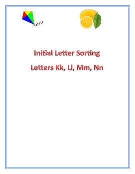 Initial Letter Sorting (Letters Kk, Ll, Mm, Nn)