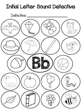 initial letter sound detective bb by johnna valentzas tpt. Black Bedroom Furniture Sets. Home Design Ideas