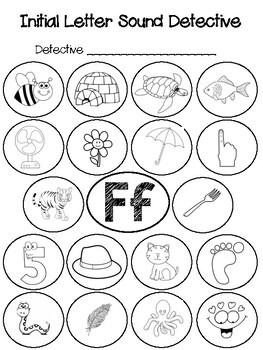 initial letter sound detective ff by johnna valentzas tpt. Black Bedroom Furniture Sets. Home Design Ideas