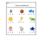 Initial Letter Sound review worksheet