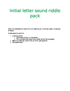 Initial Letter Sounds Riddle Pack