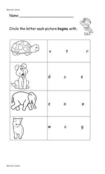 Initial Letter Worksheet