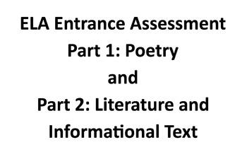 First Week of School: High School (9 - 12) Literacy Assessment