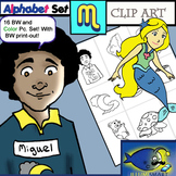 "Initial ""M"" Kindergarten Clip-Art! 8 BW, 8 Color, 1 Cut-Out Sheet"