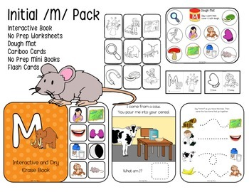 Initial /M/ Pack Articulation: Interactive Book, No Prep Sheets, Cards, more