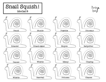 Initial, Medial & Final S & Z Articulation Snail Squish Smash (& BONUS Blank!)