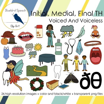 Initial, Medial, Final TH Clip Art Set Voiced and Voiceless TH Sounds