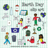 Earth Day Clip Art Set - Helping Earth, Air Pollution, Recycling