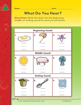 Initial, Medial, and Final Sounds--What Do You Hear? Literacy Center