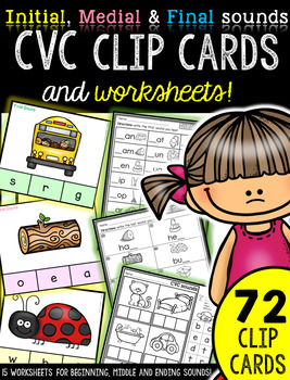 Initial, Medial and Final sounds practice: CVC clip cards