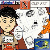 "Initial ""N"" Kindergarten Clip-Art! 8 BW, 8 Color, 1 Cut-Out Sheet"