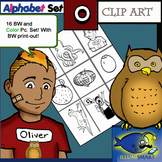 "Initial ""O"" Kindergarten Clip-Art! 8 BW, 8 Color, 1 Cut-Out Sheet"