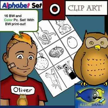 "Initial ""O"" Kindergarten Clip-Art! 8 BW, 8 Color, 1 Cut-Out Sheet"