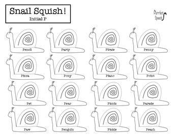 FREE Initial P Snail Squish Articulation Activity! No-prep! No ink!