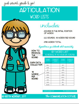 Initial Position Articulation Word Lists; 360 words total!