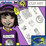 "Initial ""Q"" Kindergarten Clip-Art! 8 BW, 8 Color, 1 Cut-Out Sheet"