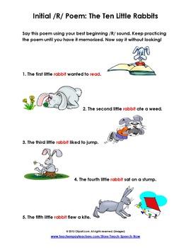 Initial R Poem: Ten Little Rabbits