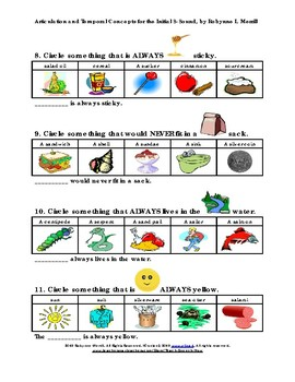 Initial S Articulation Practice Using Always/Never Concepts