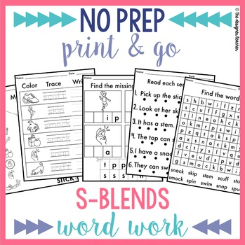 NO PREP Print & Go S Blends Word Work