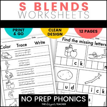 NO PREP S Blends Worksheets | S Blends Word Work