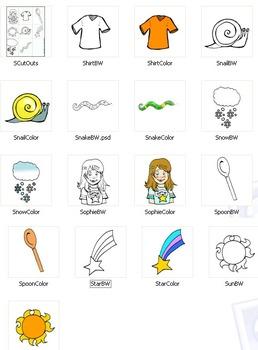 "Initial ""S"" Kindergarten Clip-Art! 8 BW, 8 Color, 1 Cut-Out Sheet"
