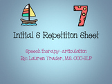 *NO PREP* Initial S Repetition Sheet