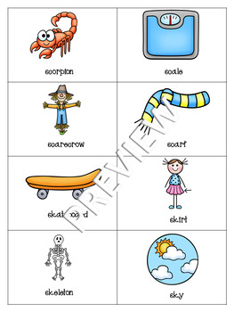 Initial /sk/ blends Flashcards or Matching Game