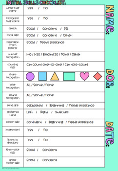 Initial Skills Checklist for Prep / Foundation / Pre-Primary