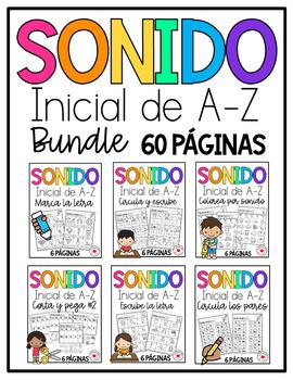 Initial Sound A-Z-Spanish Worksheets #1-10 La colección completita