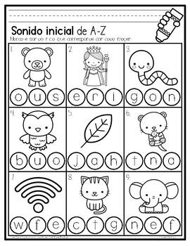 Initial Sound A-Z-Spanish Worksheet #1