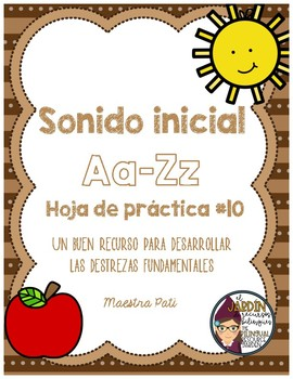 Initial Sound A-Z-Spanish Worksheet #10
