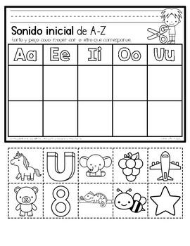 Initial Sound A-Z-Spanish Worksheet #3