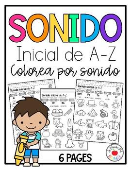 Initial Sound A-Z-Spanish Worksheet #5