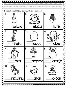 Initial Sound A-Z-Spanish Worksheet #6