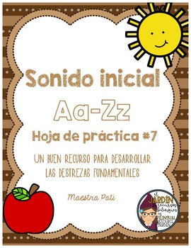 Initial Sound A-Z-Spanish Worksheet #7