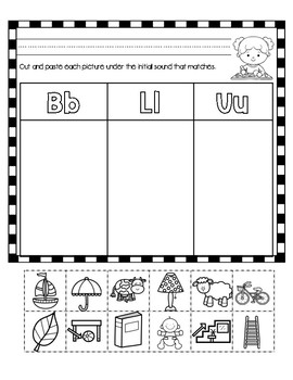 Initial Sound A-Z Worksheet #3