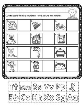 Initial Sound A-Z Worksheet #7