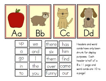 Initial Sound Alphabet Cards or Word Wall Headers and Sight Words