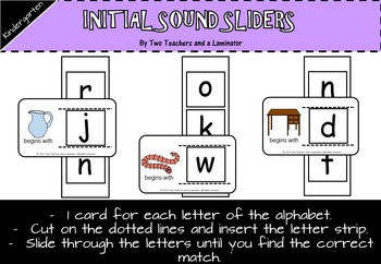 Initial Sound Alphabet Sliders (Begins with)