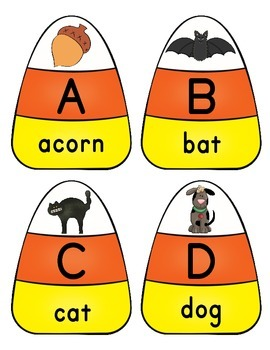 Initial Sound Candy Corn Puzzles Alphabet Phonics Literacy Center