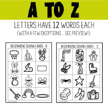 Initial Sound Cards Bundle A to Z for Phonemic Awareness of Beginning Sounds