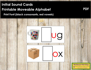 Initial Sound Cards for Printable Moveable Alphabet PRINT - Black/Red