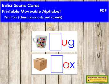 Initial Sound Cards for Printable Moveable Alphabet PRINT - Blue/Red