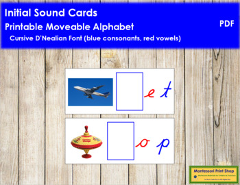 Initial Sound Cards for Printable Moveable Alphabet CURSIVE - Blue/Red
