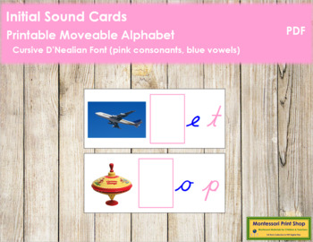 Initial Sound Cards for Printable Moveable Alphabet CURSIVE - Pink/Blue