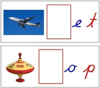 Initial Sound Cards for Printable Moveable Alphabet CURSIVE - Red/Blue