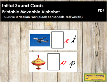 Initial Sound Cards for Printable Moveable Alphabet CURSIVE - Black/Red