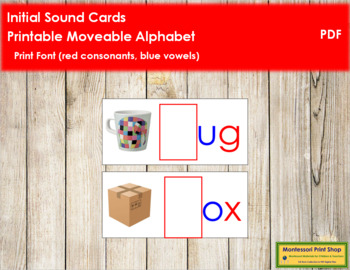Initial Sound Cards for Printable Moveable Alphabet PRINT - Red/Blue
